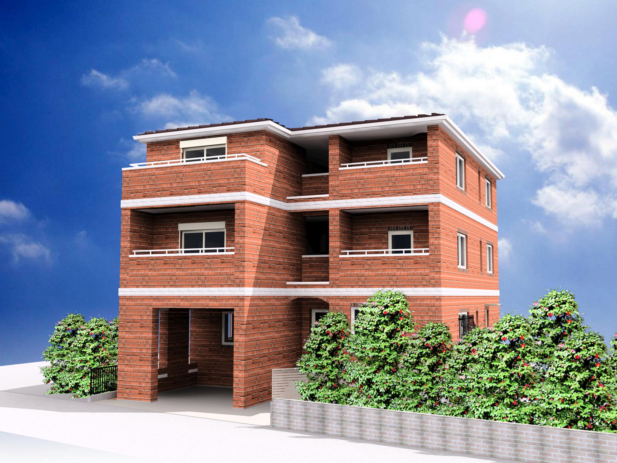 賃貸併用住宅、レンガの家でつくる工務店
